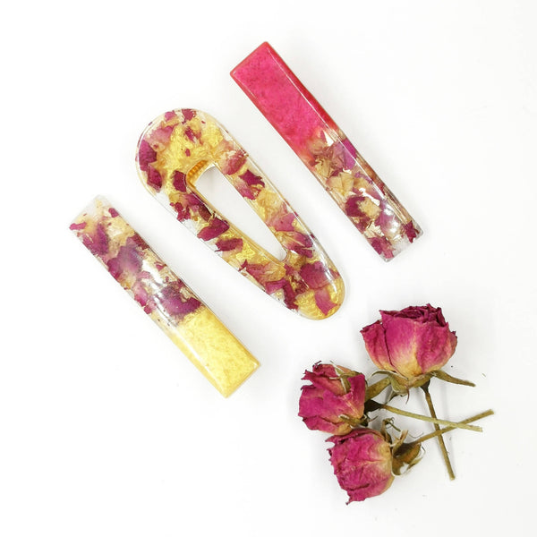 Hair Clip - Rose petals cast in resin