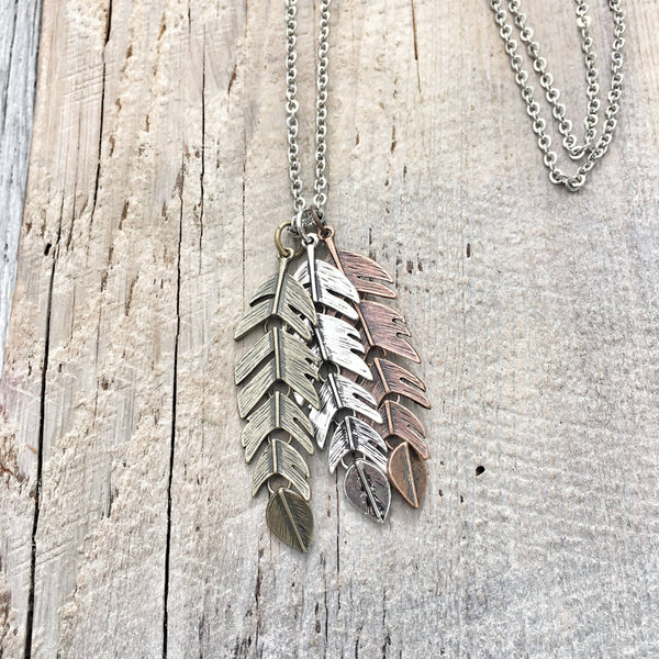Movable Triple Feather Pendant Necklace