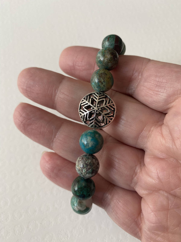 Chrysocolla and Snowflake Bead Gemstone Bracelet