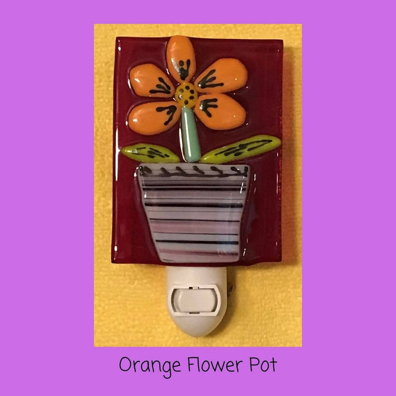 Night Light - Orange Flower Pot