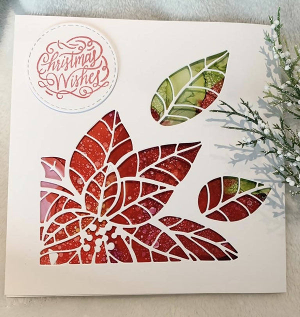 CHRISTMAS CARD POINSETTIA CUTOUT