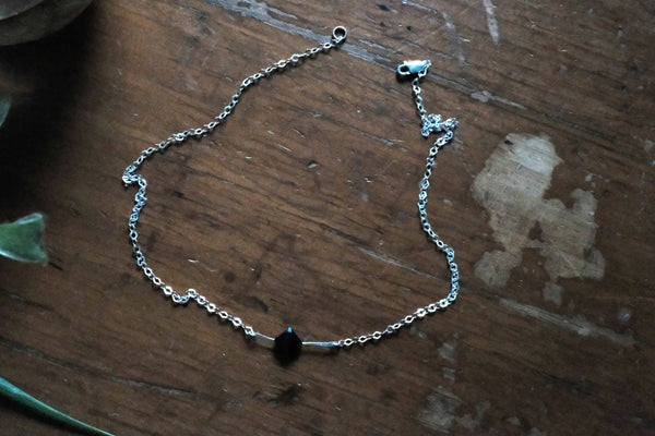 Black Gemstone Necklace Zirconia on Sterling Silver