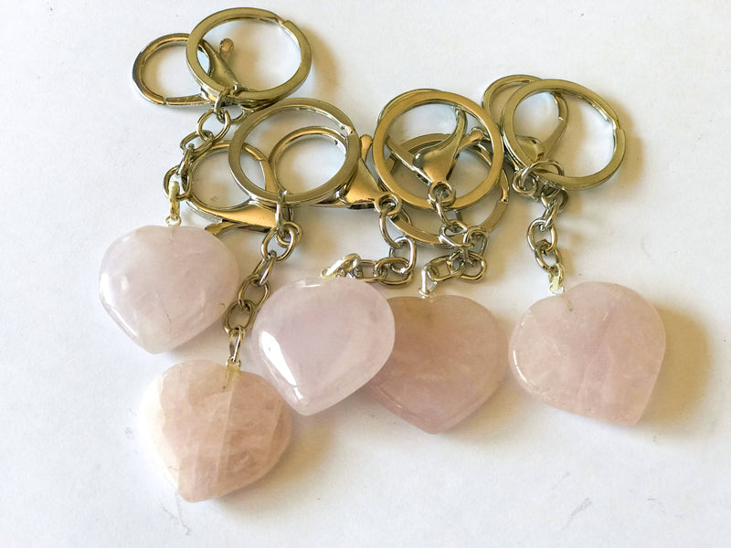 Rose Quartz Heart Keychain