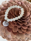 White Agate and Stainless Steel Charm Gemstone Bracelet