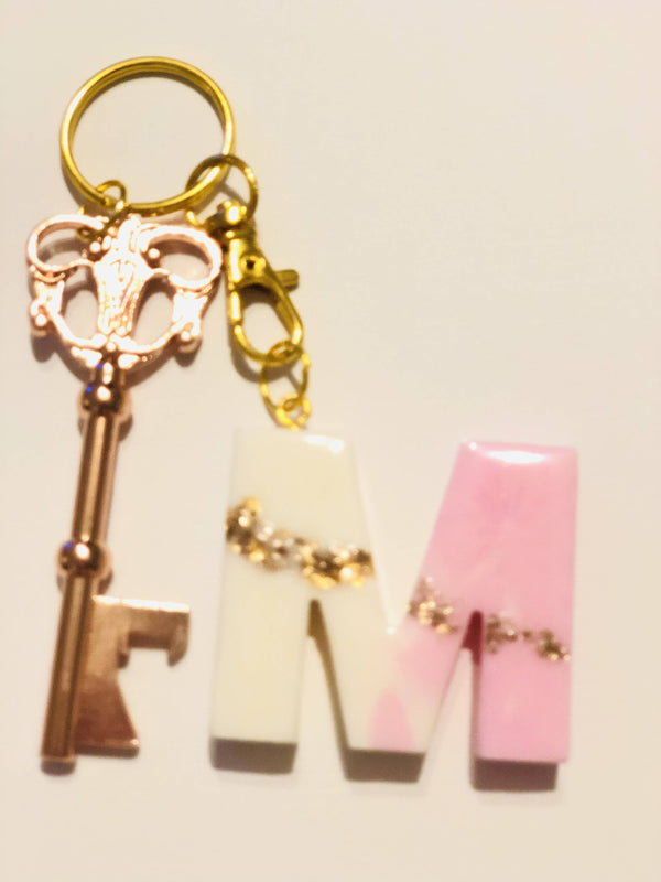 Pink & White initial keychains M-Z