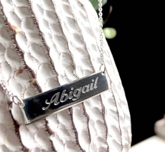 PERSONALIZED ENGRAVED STERLING SILVER NAME BAR NECKLACE