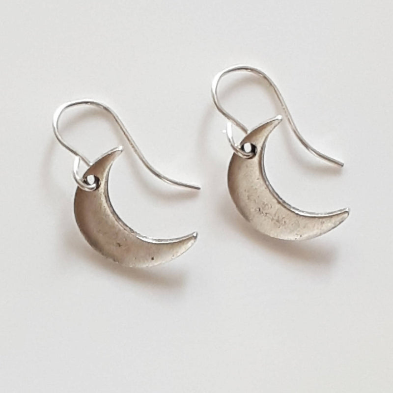 Silver Crescent Moon Drop Earrings