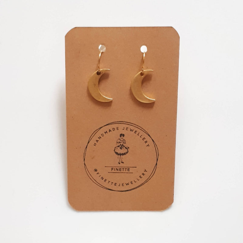 Gold Plated Pewter Crescent Moon Drop Earrings