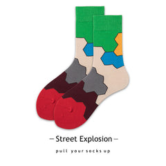 Multi Color Block Socks For Adults