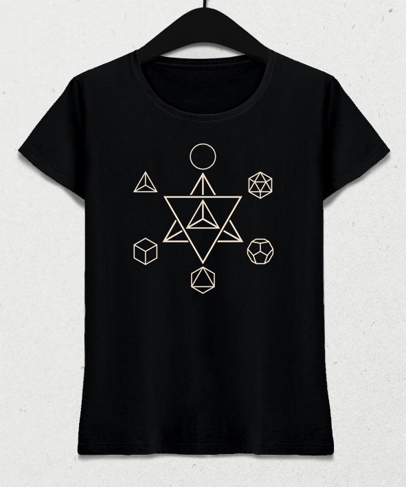 Merkaba and the Platonic Solids kadın tişört