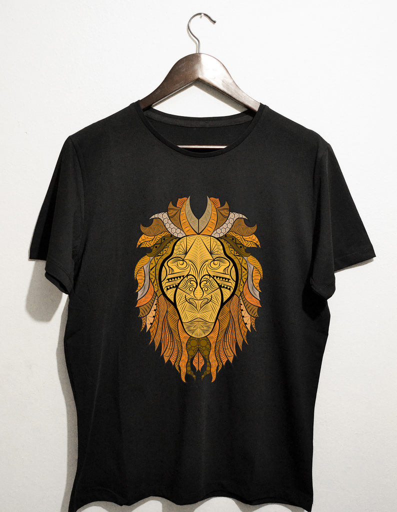 Ornate Lion - siyah t-shirt - basmatik.com