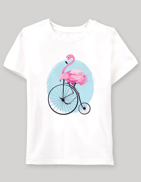 flamingo on bike Çocuk tshirt - basmatik.com