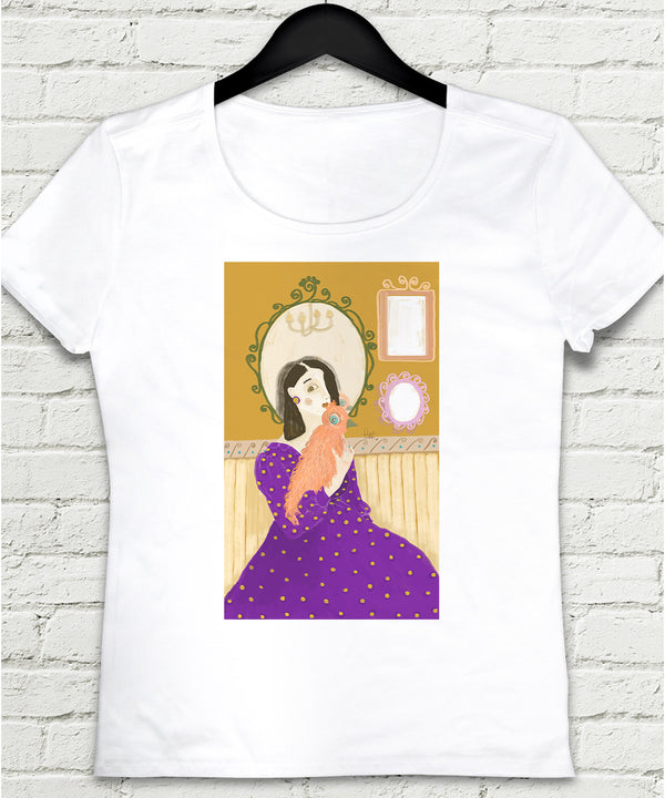 Girl and Bird Kadın tshirt - basmatik.com