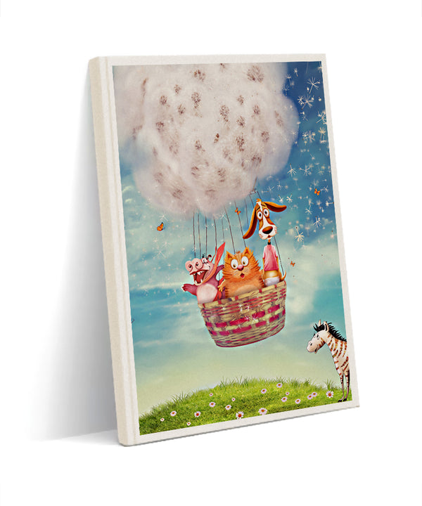 happy animals kanvas defter - basmatik.com