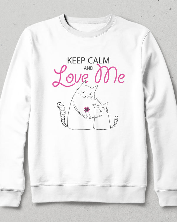 Keep calm love me  beyaz sweatshirt - basmatik.com