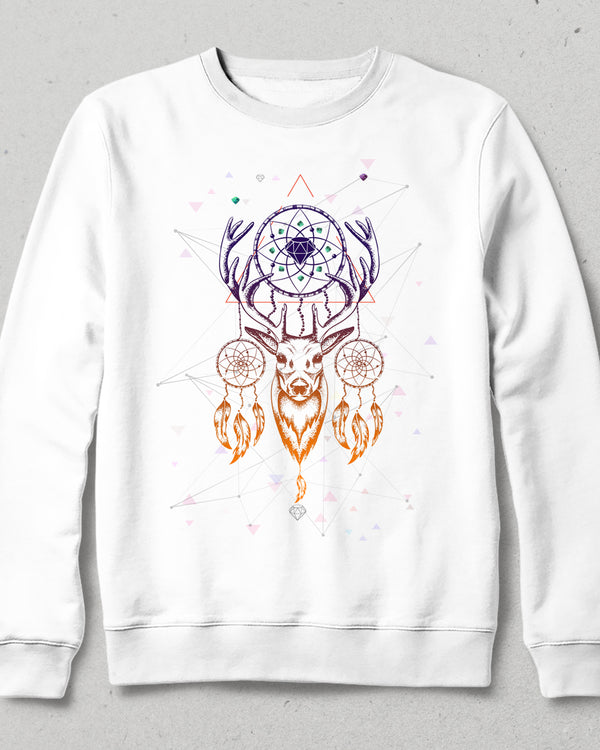 Native deer beyaz sweatshirt