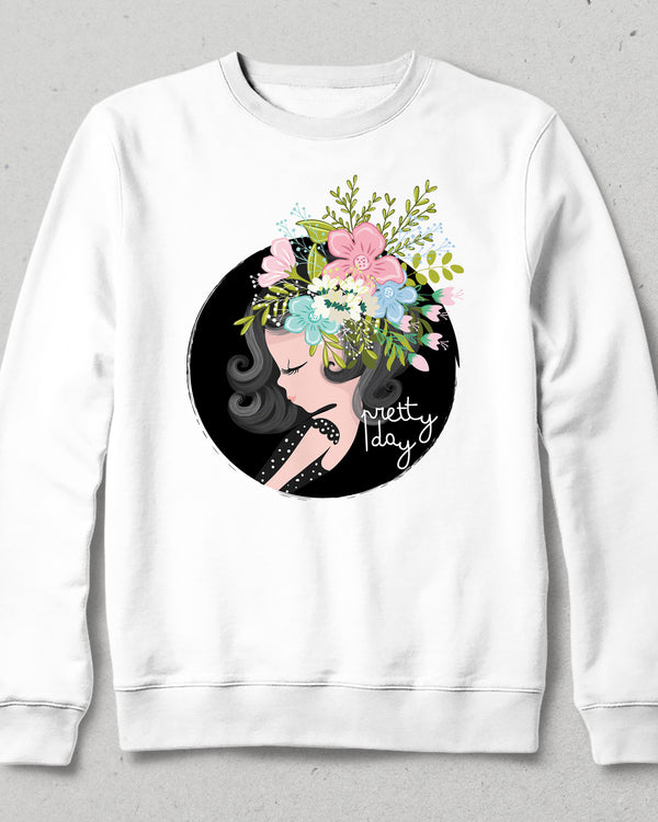 pretty day beyaz sweatshirt
