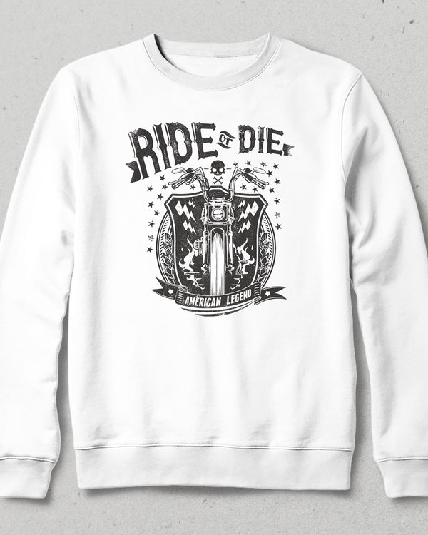 ride or die beyaz sweatshirt