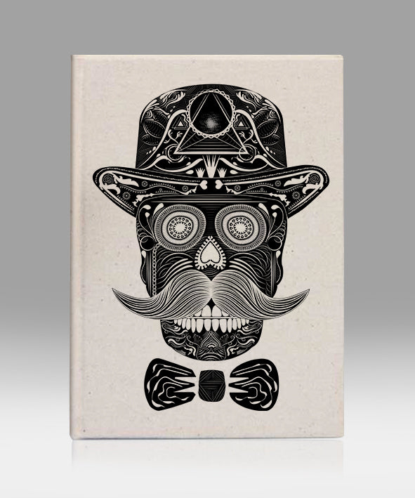 Sir skull lion kanvas defter