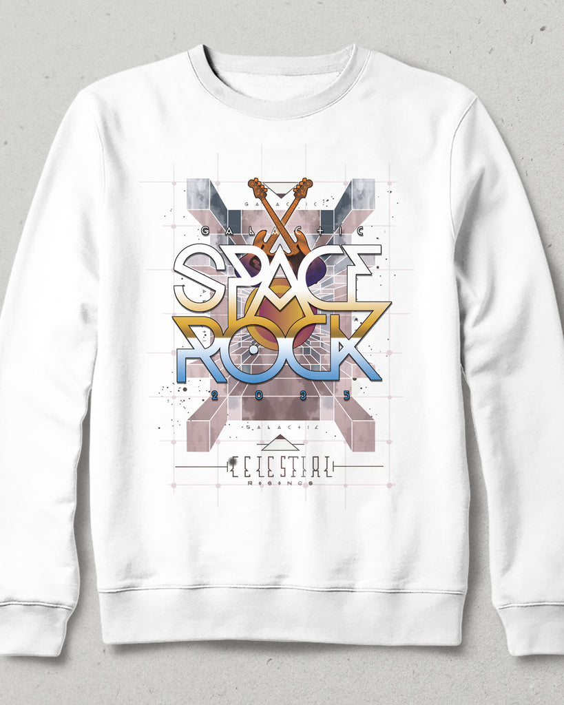Space rock beyaz sweatshirt - basmatik.com