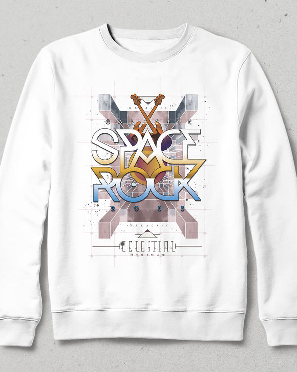 Space rock beyaz sweatshirt