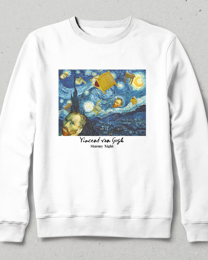 stormy nights beyaz sweatshirt