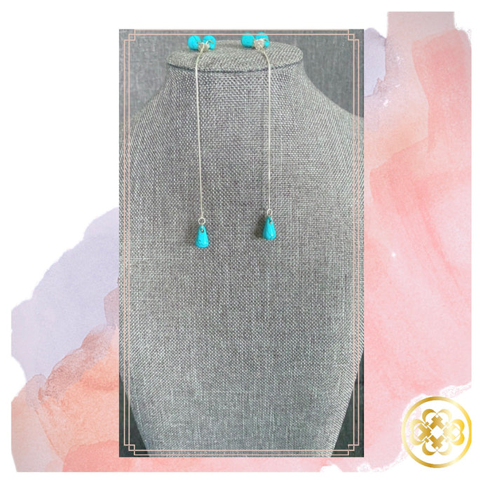 The Tosin Turquoise and Sterling Silver threader Earrings