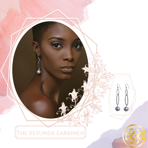 Yetunde Pearl and Sterling Silver Earrings