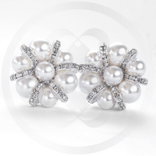 Load image into Gallery viewer, Lulu Pearl Cluster and Sterling Silver Clip-On Earrings
