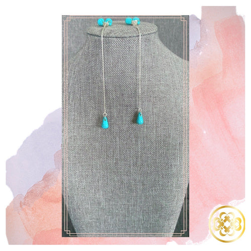 Tosin Turquoise and Swarovski Threader Earrings