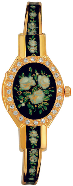 ANDRE MOUCHE - Crystal Gold Handmade Women Swiss Watch in Black - Rose - My Super Hot Deals