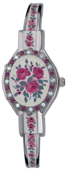 ANDRE MOUCHE - Crystal Palladium Handmade Swiss Women Watch in White/Red Rose - My Super Hot Deals