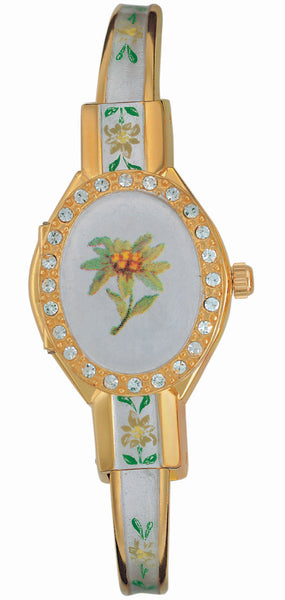 ANDRE MOUCHE - Edelweiss Crystal Gold Handmade Women Swiss Watch in Pearl White - My Super Hot Deals