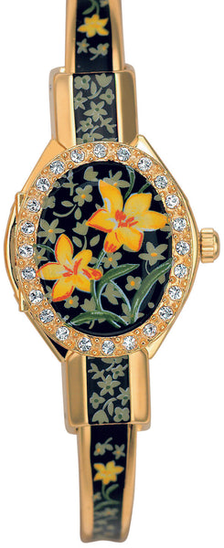 ANDRE MOUCHE - Florali Crystal Gold Handmade Women Swiss Watch in Black Yellow - My Super Hot Deals