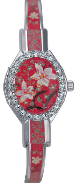 ANDRE MOUCHE - Florali Crystal Palladium Handmade Women Swiss Watch in Red - My Super Hot Deals