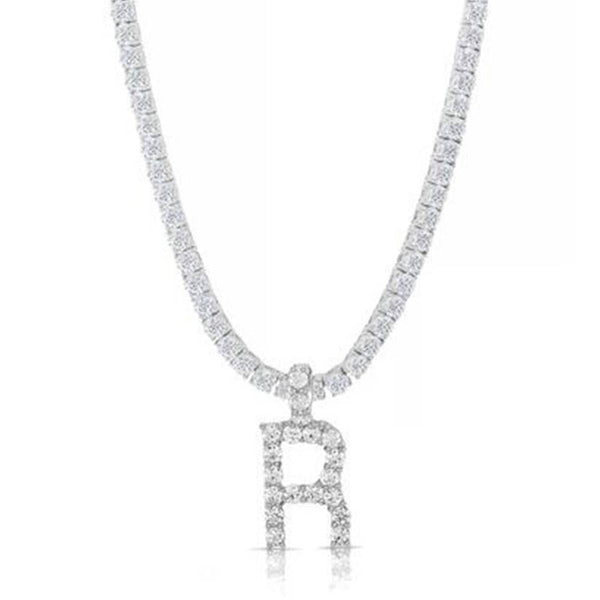 STERLING ROUND CUT INITIAL TENNIS NECKLACE WITH WHITE STONE - My Super Hot Deals