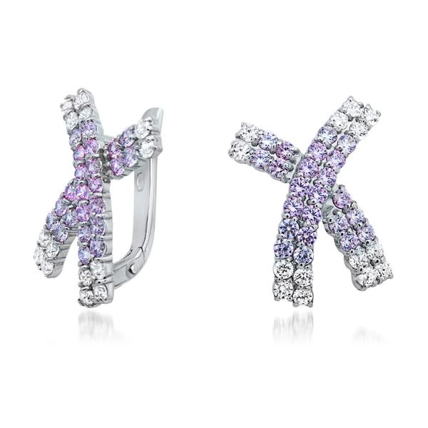 925 Silver Earrings With Pink CZ, White CZ - My Super Hot Deals