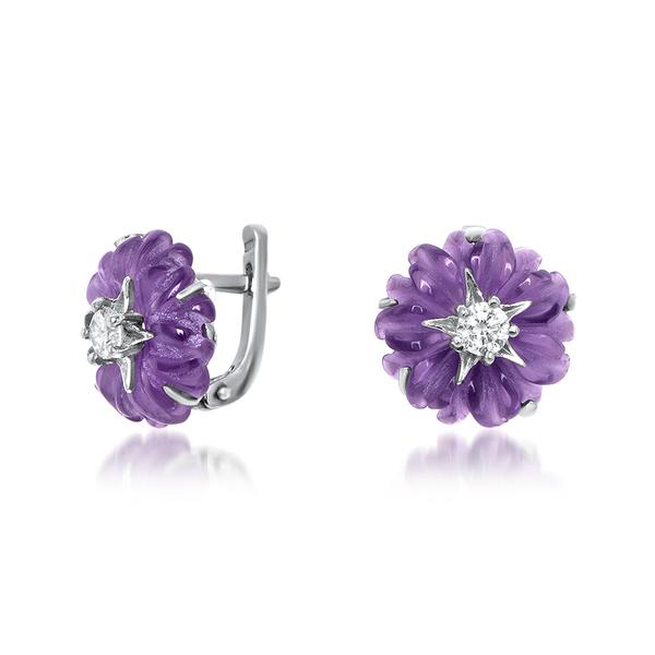 925 Silver Earrings With Amethyst, White CZ - My Super Hot Deals