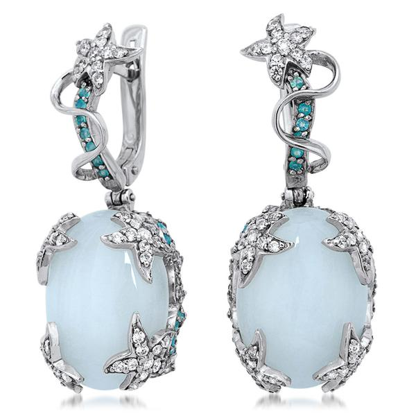 875 Silver Earrings With White Agate, Blue Chalcedony - My Super Hot Deals