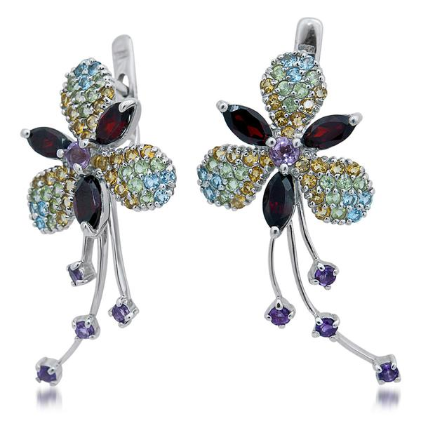 875 Silver Earrings With Garnet, Amethyst, Yellow Citrine, Peridot, Blue Topaz - My Super Hot Deals