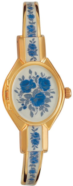 ANDRE MOUCHE - Gold Handmade Women Swiss Watch in White/Blue Rose - My Super Hot Deals