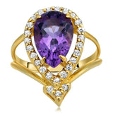 14K Yellow Gold Ring With Amethyst - My Super Hot Deals