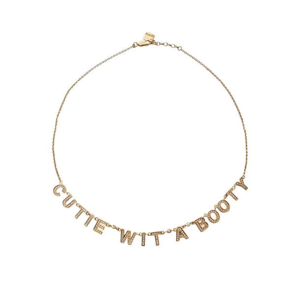 "The ""CUTIE WIT A BOOTY"" Pave Gold Necklace - My Super Hot Deals"