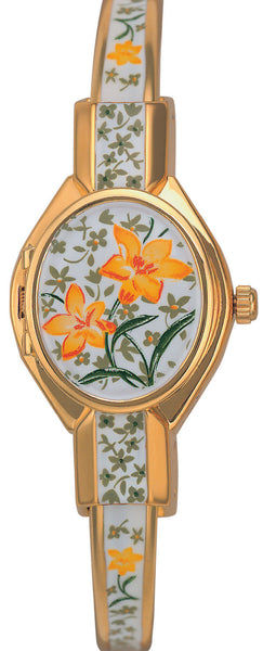 ANDRE MOUCHE -Florali Gold Handmade Women Swiss Watch in white/Yellow Flower - My Super Hot Deals