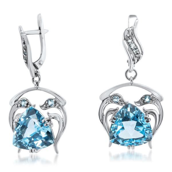 925 Silver Earrings With Blue Topaz - My Super Hot Deals