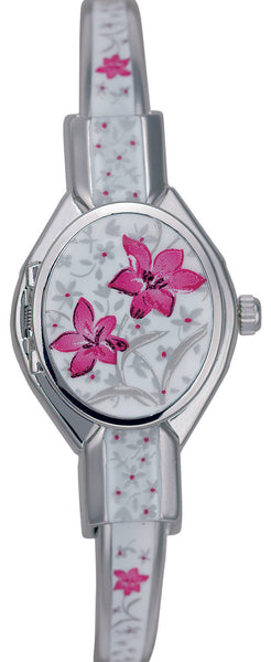 ANDRE MOUCHE - Florali - Palladium Handmade Women Swiss Watch in White/Red - My Super Hot Deals
