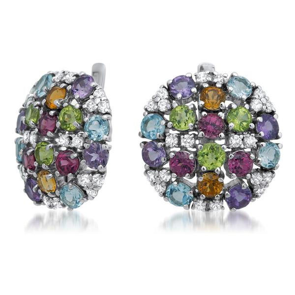 875 Silver Earrings With Amethyst, Yellow Citrine, Garnet, Peridot, Blue Topaz - My Super Hot Deals