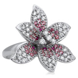 875 Silver Ring With Pink Corundum, White CZ - My Super Hot Deals