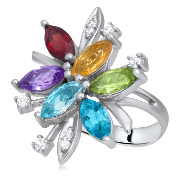 875 Silver Ring With Amethyst, Yellow Citrine, Garnet, Peridot, Blue Topaz - My Super Hot Deals