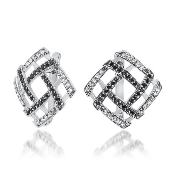 925 Silver Earrings With Black CZ, White CZ - My Super Hot Deals
